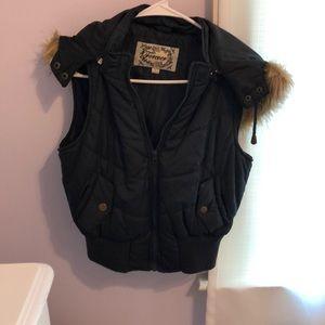 Forever 21 fur hooded vest L